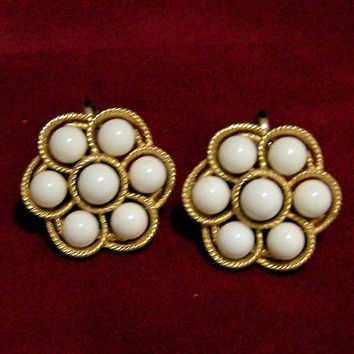 Crown Trifari White Lucite Ball Earrings, Clip On Style, Gold Tone Setting, Mid Century Jewelry  817