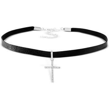 Giani Bernini Cubic Zirconia Cross Choker Necklace in Sterling Silver, Only at Macy's | macys.com
