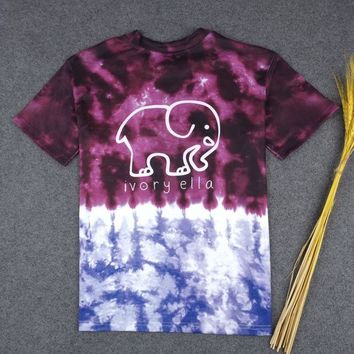 DCCK8H2 Tie Dye CUTE BABY ELEPHANT SUPREME HIGH QUALITY PRINT T-SHIRT TOP