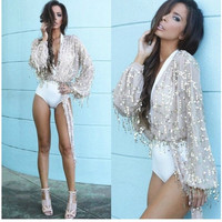 Sequin Long Sleeves Deep V-neck Sexy Club Blouses