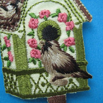 Iron-on Embroidered Patch Bird House 3.3 inch