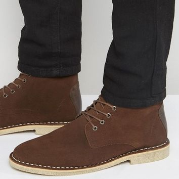 ASOS Wide Fit Desert Boots In Brown Suede With Leather Detail at asos.com