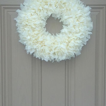 Indoor Outdoor All-Weather Wreath...Buttercream. Perfect for Spring, Easter, Summer, Wedding, Baby Shower, Mother's Day, Birthday!