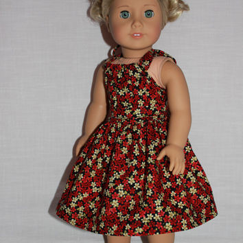 2 piece set! black floral halter dress with matching belt, 18 inch doll clothes, american girl, maplelea