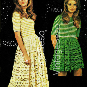 Ladies Dress Crochet Summer Wear for Ladies Vintage Pattern Party Dress also Lovely Wedding Dress - Pdf Pattern - INSTANT Download