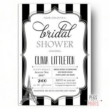 Black and White Paris Bridal Shower Invitation - Black and White Bridal Shower Invitations - Parisian Bridal Shower Invitation Printable