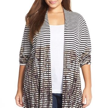 Plus Size Women's NIC+ZOE Stripe Print Long Cardigan,