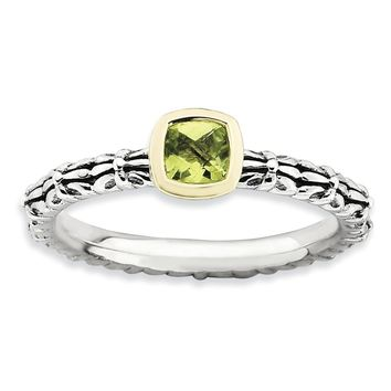 Stackable Sterling Silver & 14K Gold Plated Peridot Ring