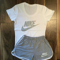 "Women Fashion ""Nike"" Print Short sleeve Top Shorts Pants Sweatpants Set Two-Piece Sportswear"