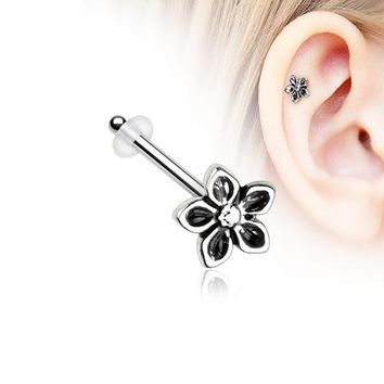 Antique Violet Flower Piercing Stud with O-Rings