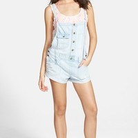 Junior Women's Billabong 'Not Really Over It' Chambray Short Overalls,