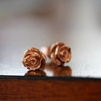 20% OFF Cyber Monday Rose earrings - 14K rose gold plated sterling silver earrings