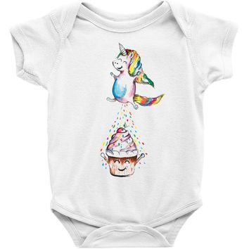 Cute Unicorn and Happy Cupcake Baby Bodysuit