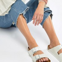 Birkenstock Arizona White Magic Print Flat Sandals at asos.com