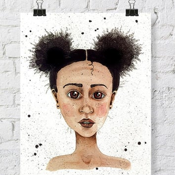 Girl Watercolor painting - watercolor print - little black girl  watercolor print - 11x14 art - kid watercolor - wide eyed girl African girl