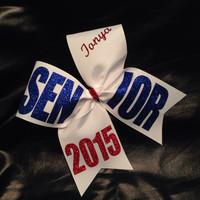 "White Senior 2015, 2016 etc personalized basic cheer bow 3"" ribbon"