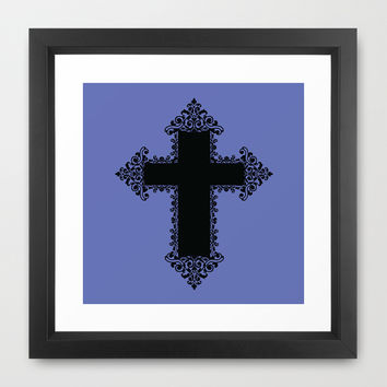 Brocade Cross Framed Art Print by KJ53321