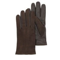 Forzieri Designer Men's Gloves Brown Touch Screen Leather Men's Gloves