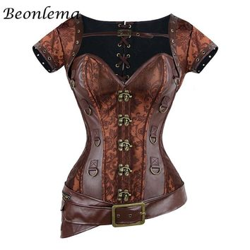 Steampunk Corset Sexy Gothic Women Vintage Retro Corselet Lace Up Bustiers Korset Leather Plus Size Buckle Gorset Top 4 Pcs Set