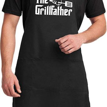 LL The Grillfather (White Print) Full Length Apron with Pockets