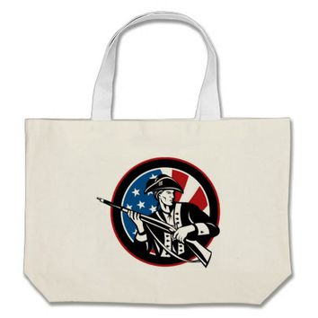 American revolutionary soldier with rifle flag large tote bag