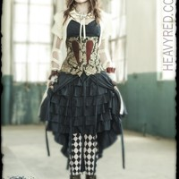 ALICE en Splendeur Dement - ALICE IN WONDERLAND GOTHIC dress, strait jacket and corset costume by Heavy Red.