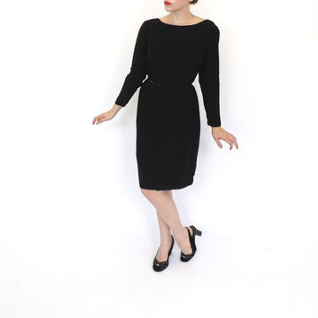 Vintage 1960s Classic Little Black Dress Rayon Sheath Dress 60s Party Cocktail Wiggle Mad Men Mod Vogue Couture Fitted Avant Garde Dress