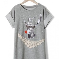 Elk Crochet Pearly T-shirt Grey$39