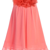 Coral Chiffon Shift Dress with 2 Tier Hem & Floral Mesh Neckline (Girls 2T - Size 14)