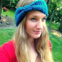 Cinched Crochet Headband with Sparkle, Sparkle Yarn, Headband