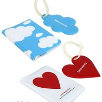 JAVOedge Heart and Cloud Passport Cover and Luggage Tag Set (2 pack)