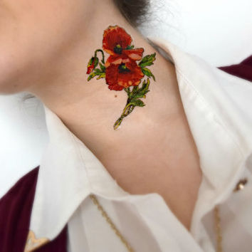 Large vintage Flower temporary tattoo - Poppy, Floral, Body art , Tattoo, red