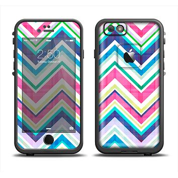 The Vibrant Pink & Blue Layered Chevron Pattern Apple iPhone 6 LifeProof Fre Case Skin Set