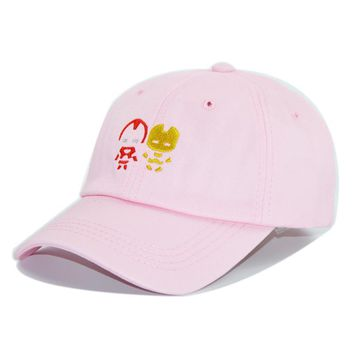 HAPPYTAIL Cap Women Fashion Baseball Cap Iron Man Embroidered Snapback Unconstructed Soft Dad Hat PINK White Black Summer Caps