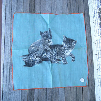Vintage Aqua Blue Kitten Hankie - Swiss Kitten Handkerchief - Blue Novelty Hankie - Stoffels Pictorial Gift Hankie made in Switzerland