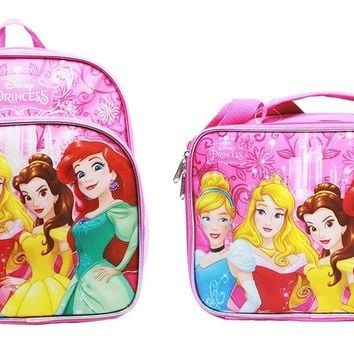 "Disney Princess Girls 10"" Canvas Pink School Backpack Plus Insulated Lunch Bag"