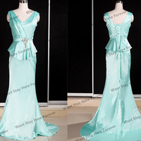 Elegant Mint Double V Asymetric Straps Empire Line Ruffle Fabala Floor Length Long Prom Dress with Train,mother of the bridal dresses,