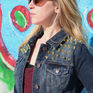 Golden Spike Studded Denim Jacket Size Women's Small - Free US Shipping
