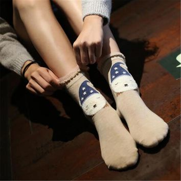 Women's Cute  Cotton Socks  Random 5 Pairs  With Box Crew