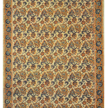 Hand Block Printing Traditional Style Cotton Flat Weave Floral Rug (4'x6') - Bohemian Decor