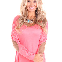 Coral Elbow Patch High Lo Tunic Top