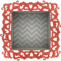 Coral, White & Gray Chevron Wall Shelf | Shop Hobby Lobby