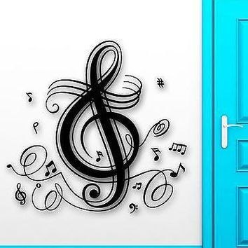 Wall Stickers Vinyl Decal Music Notes Singing Patterns Great Room Decor Unique Gift (ig1784)