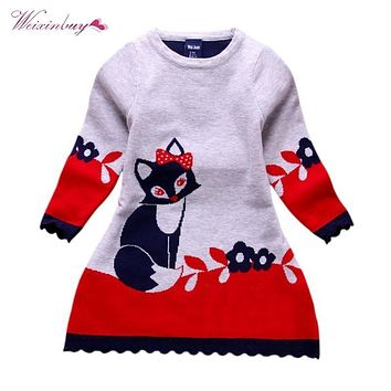WEIXINBUY Winter Spring Double-layer Long-sleeve Kids Fox Clothing Thick Girl Fox Sweater Dress