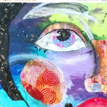 CYBER MONDAY SALE Half Face Girl Art, Mixed Media, Mixed Media Art, Canvas Print, Print on Canvas, Collaged Painting, Colorful Painting, Gir
