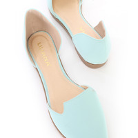 Mint Pointed Closed Toe Slip On Flats Nubuck