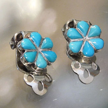 Vintage Turquoise Earrings Squash Blossom Silver Earrings Native American Zuni Turquoise Gemstone Flower Floral Design 1960s 60s Mid Century