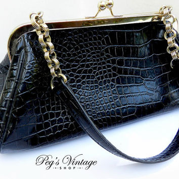 Vintage Liz Claiborne Black Faux Alligator Skin Purse, 1950's Purse Vintage Bag