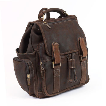 Leather Jumbo Backpack, Distressed Brown, Backpacks