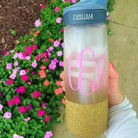 Monogram Glitter Camelbak Water Bottle